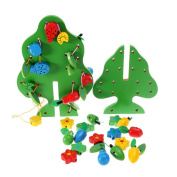 DIY Fruit Tree Christmas Gift Ideas Wooden Toy Set Children Educational Toy Training Recognition Learning Toys for Kids Colour Shape Creative