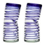 Vaso Borracho Glass - Blue Spiral - set of 2