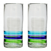 Tumia Handmade Hi-Ball (Collins) Glasses - 3 Coloured Ring - Set of 2