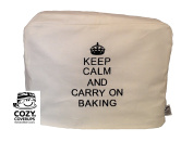 "CozyCoverUp® for Kitchenaid Artisan 6.9L 5.7l Cream Embroidered Food Mixer Cover ""KEEP CALM AND CARRY ON BAKING"" Black Embroidered Cotton"