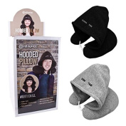 Down Time Hoody Travel Pillow Flight Neck Rest Nap Sleeping Head Cushion Support Journey Soft Adjustable Gift Relax