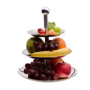 IMEEA 3 Tier Stainless Steel Serving Plate Stand for Fruit Candy Dessert Cupcake for Wedding & Home & Party