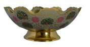 Zap Impex Golden Plated Brass Decorative Dry Fruit Bowl carving Work - Size- 23cm Beautiful White Colour Peacock design Kitchenware Gift