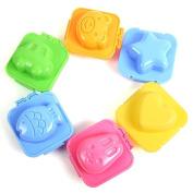 Fashionclubs 6Pcs Plastic Boil Egg Sushi Rice Cutter Mould,Bear Rabbit Heart Star Fish Car Shapes