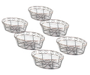 New Star Foodservice 22117 Antique Bronze Finished Oval Wire Bread Basket, 10 by 17cm by 7.6cm , Set of 6