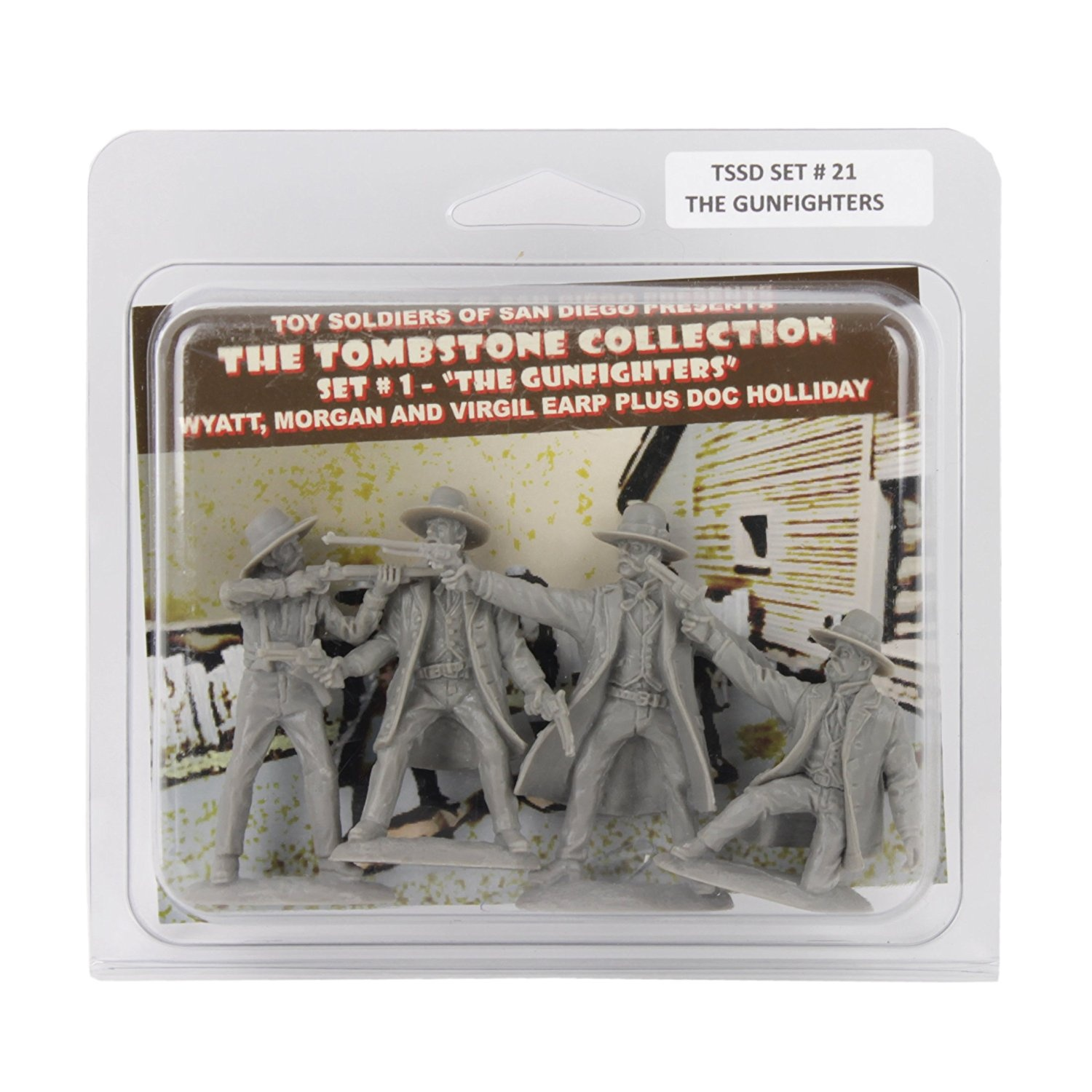TSSD TOMBSTONE Earps & Doc Holliday: 4 grey 1:32 Plastic Cowboy Figures by  Toy Soldiers of San Diego
