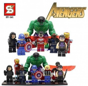 8pcs Super Heroes Avengers Captain America Hulk Thor Ironman Minifigure Building Blocks Brick Toy