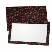 Coffee Beans Place Cards - FLAT or TENT - 10 or 50 Pack - White Blank Front with Border - Placement Table Name Seating Stationery Party Supplies - Occasion or Dinner Event