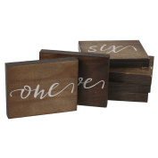 Ling's moment Calligraphy Wooden Table Numbers, Rustic Wedding Table Numbers, Script, Cursive Wooden Table Numbers for Wedding, Annual Dinner or Catering Decoration, 1 to 15, Pack of 15