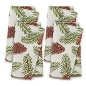 St. Nicholas Square 48cm Christmas Fabric Dinner Napkins 4 pack, Woven Pinecone Print