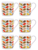 6 x Orla Kiely Ten Colour Stem Mugs