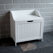 Home Discount Priano Bathroom Laundry Cabinet Storage Cupboard Chest Bin Wooden Basket Unit, White