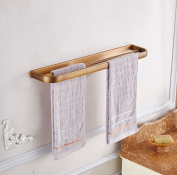 Aothpher 60cm Wall Mounted Copper Bathroom Towel Bar Double Towel Rack ,Bronze Polished Finish