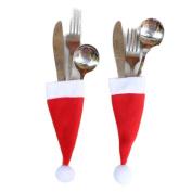 FEITONG Christmas Decorative tableware Knife Fork Set Christmas Hat Storage Tool