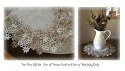 Linen Gift Set Sophisticated Floral Lace 90cm Dresser Scarf PLUS a Large 48cm Doily Neutral Earth Tones European Design