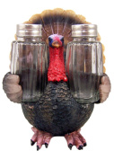 Resin Thanksgiving Turkey Figurine with Glass Salt and Pepper Shaker Set, 16cm