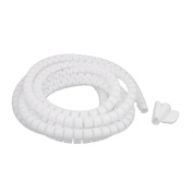 sourcingmap® 10mm Flexible Spiral Tube Cable Wire Wrap Computer Manage Cord White 3 Metres Length w Clip