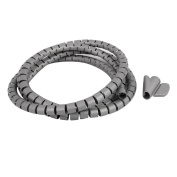 sourcingmap® 10mm Flexible Spiral Tube Cable Wire Wrap Computer Manage Cord Grey 1.5M w Clip