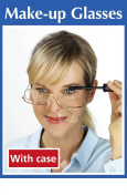 MAKEUP 3 x MAGNIFYING MAKE UP EYE GLASSES SPECTACLES WITH POUCH FLIP DOWN LENSE
