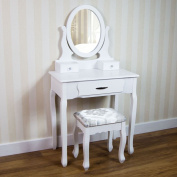 Home Discount Nishano Dressing Table With Stool 3 Drawer Oval Adjustable Mirror Bedroom Set Makeup Cosmetics Dresser Furniture, White