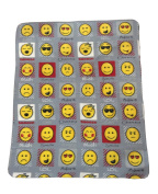 Expressions, Emoji Grey Polar Fleece, Throw Blanket, Suitable for Chair or Bed, Machine Washable, 127cm x 152cm, Emoticons