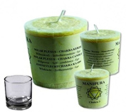 Find Something Different Chakra 3 Manipura Will Power Perfumed Votive Palm Wax Candle, Bamboo, Multi-Colour