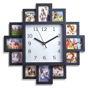 LIVIVO ® Black 12 Picture Photo Frame Wall Clock- . Modern Family Picture Frame and Time Piece