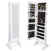 Cheval Mirror and Jewellery Cabinet White