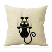 Culater® Cute Black Cat Pillow Case Sofa Waist Throw Cushion Cover Home Decor