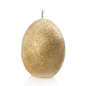 2 Gold Egg Shaped Candles | Metallic Glitter Gold Textured Effect | Ovoid Shape