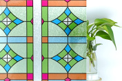 CottonColors Premium No-Glue 3D Static Stained Decorative Privacy Window Films,3Ft X 6.5Ft.