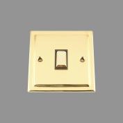 A5 Single Light Switch 1 Gang - Polished Brass Victorian - Black - Metal Rocker Switch - 1 Gang 2 Way 10 Amp