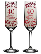 40 Years Together 40th Wedding Anniversary Champagne Flutes In Gift Box