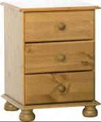 Steens Richmond Solid Pine 3 Drawer Bedside Cabinet Metal Drawer Runners