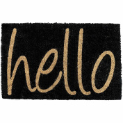 Novelty Hello Door Mat Tough Natural Coir Non Slip PVC Back Welcome Home Large Indoor Outdoor Entrance Hard Wearing Doormat 40 x 60cm Black