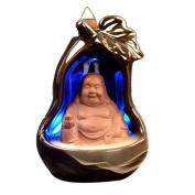LED Light Changing Incense Cone Burner Ceramic Backflow Censer - Maitreya