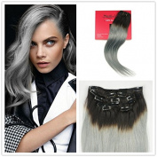 Stella Reina Black to Silver Grey Ombre Clip In Hair Extensions Real Hair 120g for 7 pieces Full Head Sets Black Roots Grey Remy Human Hair Straight Clip On 60cm