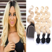 Carina Hair Dark Roots Blonde T1B/613 Ombre Virgin Body Wave Peruvian Hair With Closure 3 Bundles With 1 Closure