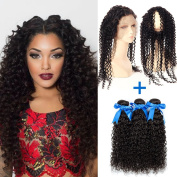 GEFINE hair 360 Band Lace Frontal Closures With Bundles 3pcs Brazilian Virgin Curly Hair 360 Full Lace Frontal Natural Colour 18 18 18+36cm