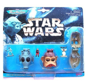 Star Wars Micro Machines Mini Heads With Mini Figures Collection II Sand Mann (Tusken Raider), Greedo And Nien Numb