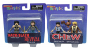 Comic Heroes Minimates Series Hack/Slash Revival Diamond Select Cassie Hack and Em Cypress + Chew - FDA Agent Tony Chu and Cyborg John Colby indy comic book figures