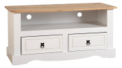 Seconique Corona 2 Drawer Flat Screen TV Unit - White/Distressed Waxed Pine