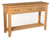 Camberley Oak 3 Drawer Console Table with Light Oak Finish | Solid Wooden Hall / Side / End / Telephone Table with 1 Shelf & 3 Drawers