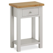 Farrow Painted Hall Table / Telephone Table / Painted Stone Grey with Oak Top & Drawer