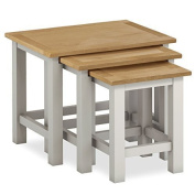 Farrow Painted Nest of Tables / Set of Side Tables / Painted Stone Grey End Tables with Oak Top / Assembled