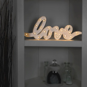 Metal Signs - Love - Festoon Warm White LEDs - 48cm - Battery Operated by Festive Lights