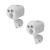 Mr. Beams MB382 300-Lumen Weatherproof Wireless Battery Powered LED Ultra Bright Spotlight with Motion Sensor, 2-Pack, White