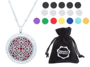 """Aromatherapy Necklace -Mandala Design with Crystals -Essential Oils Diffuser Jewellery 25mm Diameter Surgical Stainless Steel Locket/ Pendant w/ 24"""" Chain+17 Aromatherapy Refill Pads -in Silver Colour"""