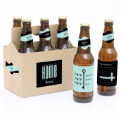 Home Sweet Home - 6 Beer Bottle Labels Housewarming Gift with 1 Beer Carrier
