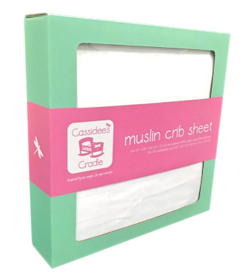 Cassidee's Cradle Muslin Cotton Crib Sheet (Solid White)